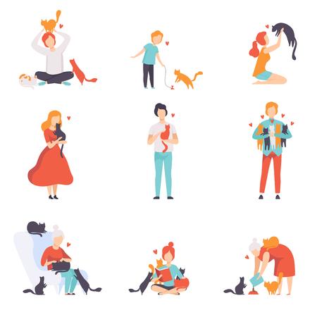 Mensen zorgen, voeden en spelen met hun katten set, schattige huisdieren en hun eigenaren vector illustratie geïsoleerd op een witte achtergrond. Vector Illustratie