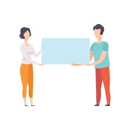 Man and woman holding blank banner, promotion, advertising or peace protest concept vector Illustration isolated on a white background. Ilustração Vetorial