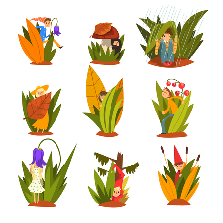 Cute little people in tall grass set, funny fairy creatures on beautiful natural landscape vector Illustration isolated on a white background.