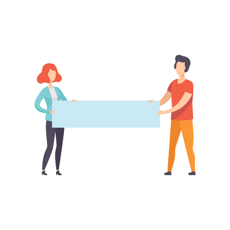 Young man and woman holding blank banner, promotion, advertising or peace protest concept vector Illustration isolated on a white background. Vettoriali