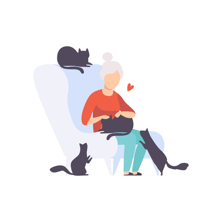 Elderly woman sitting in armchair surrounded by black cats, adorable pets and their owner vector Illustration isolated on a white background. Ilustracje wektorowe