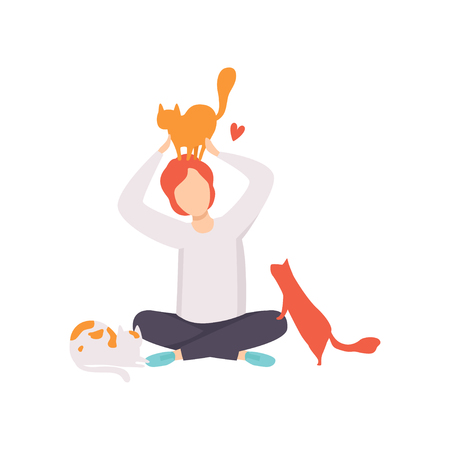 Man sitting on the floor surrounded by cats, adorable pets and their owner vector Illustration isolated on a white background. Ilustração