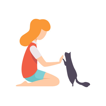 Girl sitting on the floor and playing with her black cat vector Illustration isolated on a white background.