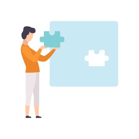 Young man putting last puzzle in jigsaw, guy connecting puzzle elements vector Illustration isolated on a white background. Çizim