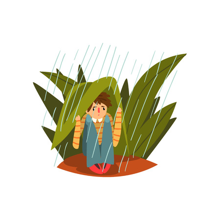 Boy hiding from the heavy rain in the tall grass vector Illustration isolated on a white background.