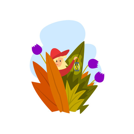 Boy walking with a lantern through a thick grass cartoon vector Illustration isolated on a white background.