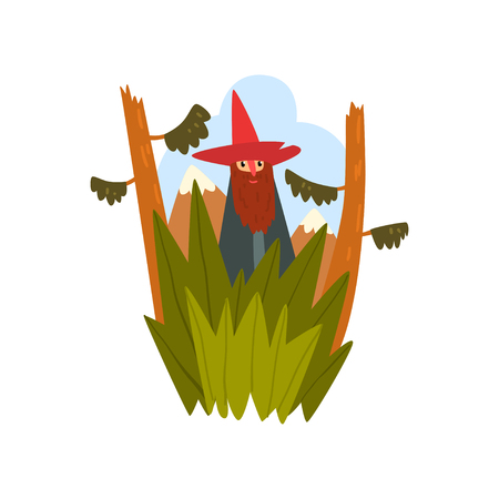 Bearded man in a pointed hat standing on the background of beautiful nature vector Illustration