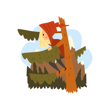 Kid got lost in the forest, girl sitting on a pine cartoon vector Illustration isolated on a white background.