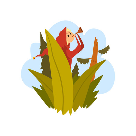 Boy got lost in the forest, child sitting on a tree and blowing into a pipe cartoon vector Illustration isolated on a white background.
