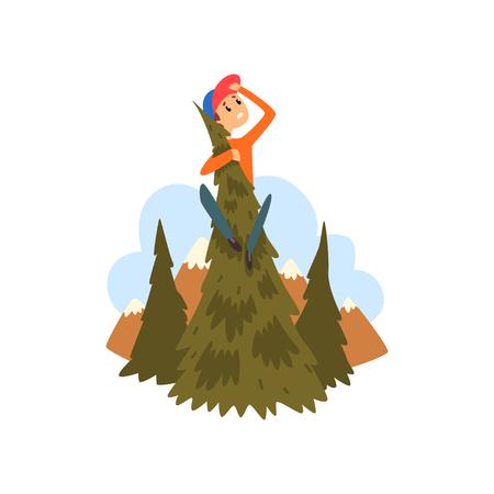 Junge hat sich im Wald verirrt, Kind sitzt auf einer Kiefer und schaut in den Fernkarikaturvektor Illustration