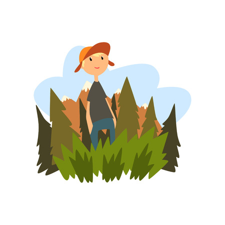 Boy enjoying summer vacation in countryside landscape vector Illustration isolated on a white background.