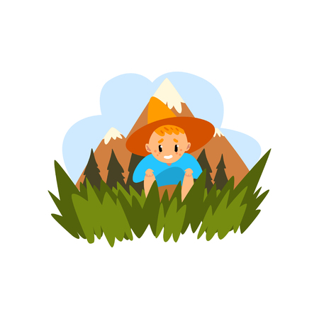 Cute boy sitting in the grass, kid enjoying summer vacation in countryside landscape vector Illustration isolated on a white background.