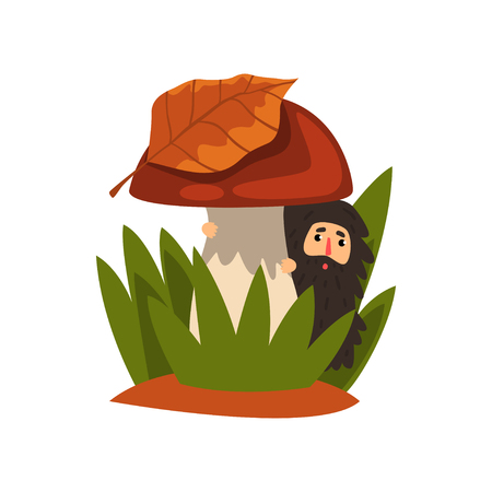 Little bearded man standing in the tall grass under the mushroom, fairy creature on beautiful natural landscape vector Illustration isolated on a white background. Illustration