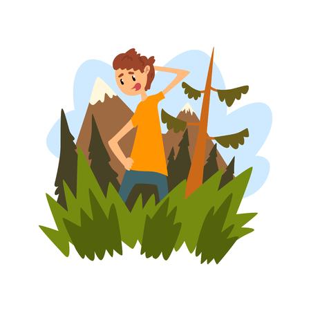 Il giovane si è perso nella foresta, ragazzo che si gratta la testa pensieroso sullo sfondo di una bellissima natura del fumetto illustrazione vettoriale