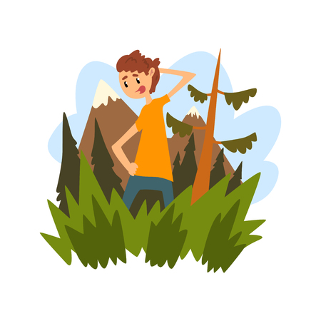 Young man got lost in the forest, guy scratching his head thoughtfully against the backdrop of beautiful nature cartoon vector Illustration
