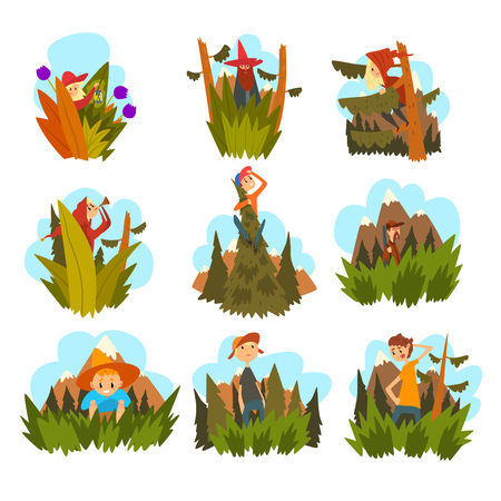 People against the backdrop of nature set, children and adults walking in the forest cartoon vector Illustration Illustration