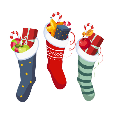 Christmas Socks with Presents. Winter Vector Illustration Vector Illustration