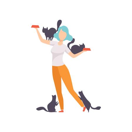 Donna che alimenta i suoi gatti, ragazza circondata da gatti neri, adorabili animali domestici e il loro proprietario vettoriale illustrazione isolato su sfondo bianco.
