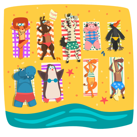 Wild animals sunbathing on the beach, cute animals cartoon characters relaxing on the seashore at summer vacation vector Illustration isolated on a white background. 向量圖像