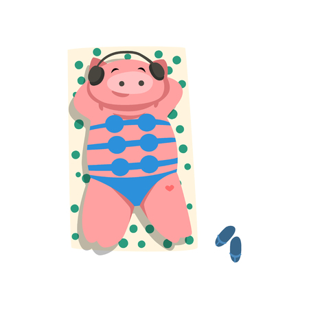 Pig with headphones and bikini sunbathing on the beach, cute bird cartoon character relaxing on the seashore at summer vacation vector Illustration isolated on a white background.