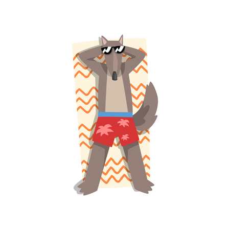 Wolf in sunglasses sunbathing on the beach, cute animal cartoon character relaxing on the seashore at summer vacation vector Illustration isolated on a white background. Illustration