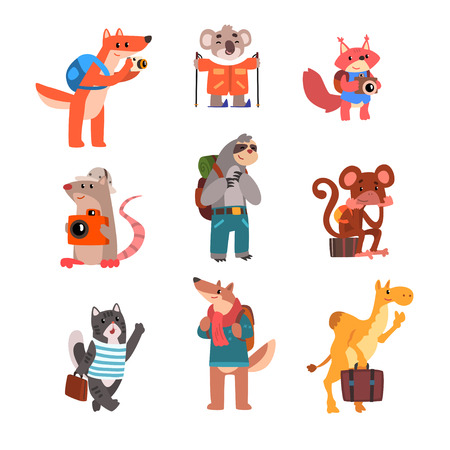 Cute animals traveling set, wild animals cartoon characters with backpacks and suitcases vector Illustration isolated on a white background.