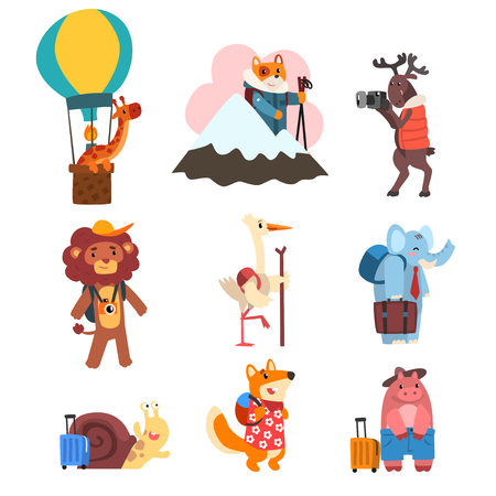 Cute animals cartoon characters traveling on vacation set, wild animals and birds with backpacks and suitcases vector Illustration isolated on a white background. Illustration