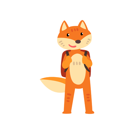 Fox standing with backpack, cute animal cartoon character, school education and knowledge concept vector Illustration isolated on a white background. Ilustracja