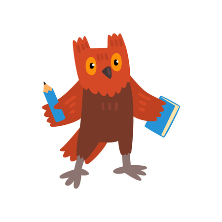 Cute owl bird cartoon character with pencil and book, school education and knowledge concept vector Illustration isolated on a white background.