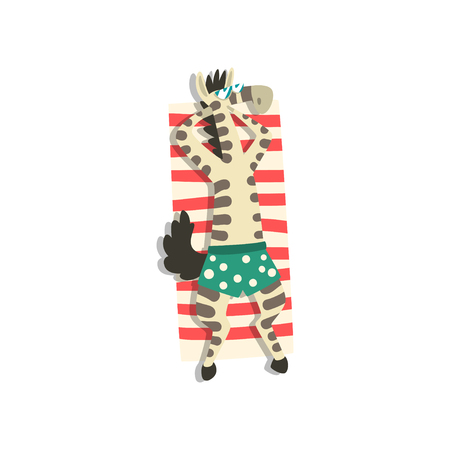 Zebra sunbathing on the beach, cute animal cartoon character relaxing on the seashore at summer vacation vector Illustration isolated on a white background.