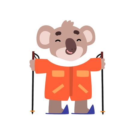Coala bear skiing, cute animal cartoon character on winter vacation vector Illustration isolated on a white background.