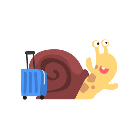 Cute funny garden snail travelling with suitcase vector Illustration on a white background