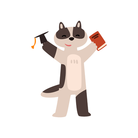 Raccoon graduate student, cute animal cartoon character, school education and knowledge concept vector Illustration isolated on a white background. Illustration