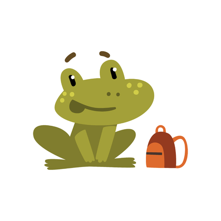 Cute little frog, funny amphibian animal cartoon character, school education and knowledge concept vector Illustration isolated on a white background.