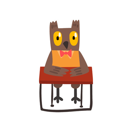 Cute owl bird cartoon character sitting at the desk, school education and knowledge concept vector Illustration isolated on a white background.