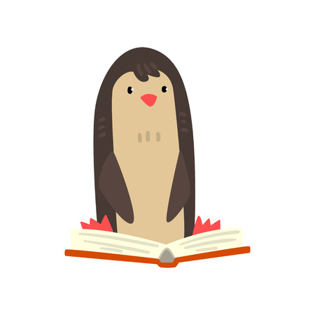Cute penguin bird cartoon character reading a book, school education and knowledge concept vector Illustration isolated on a white background.