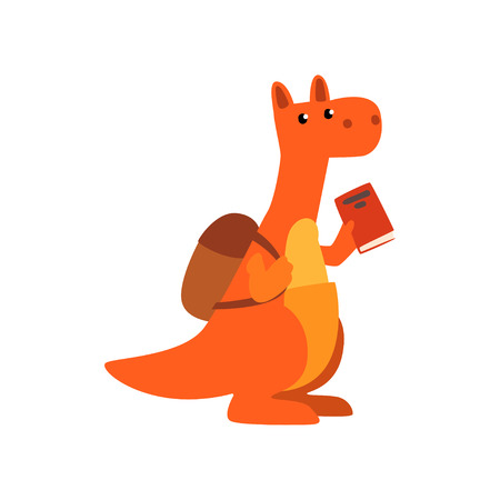 Cute kangaroo animal cartoon character standing with backpack and book, school education and knowledge concept vector Illustration isolated on a white background.