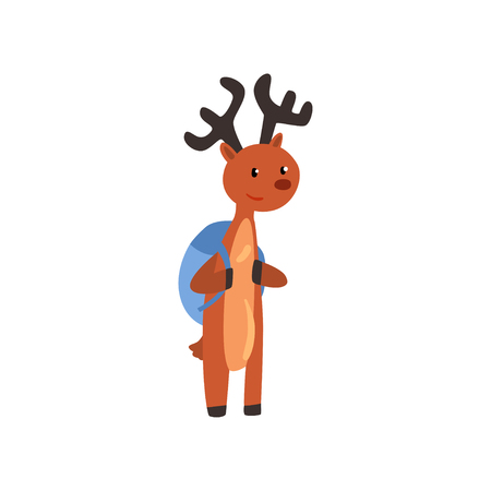 Cute deer animal cartoon character standing with backpack, school education and knowledge concept vector Illustration isolated on a white background.