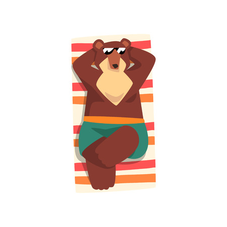 Bear in sunglasses sunbathing on the beach, cute animal cartoon character relaxing on the seashore at summer vacation vector Illustration isolated on a white background.