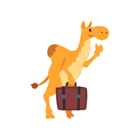 Camel animal cartoon character traveling with suitcase vector Illustration isolated on a white background.