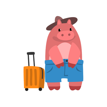 Funny hippo animal cartoon character traveling with suitcase vector Illustration isolated on a white background.