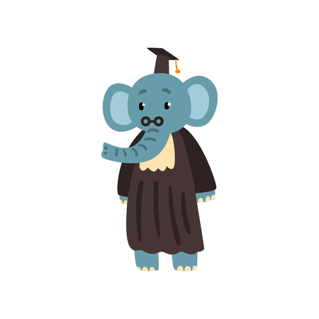 Graduate elephant in mantle and cap, cute animal cartoon character, school education and knowledge concept vector Illustration isolated on a white background.