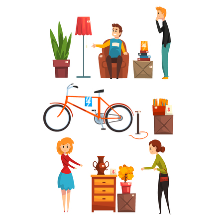 People buying and selling items at a garage sale set vector Illustration isolated on a white background. Illusztráció