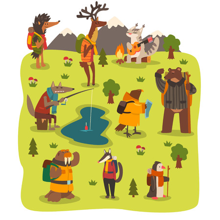 Wild animals travelling set, cute animals characters having hiking adventure travel or camping trip vector Illustration in cartoon style