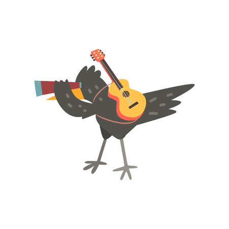Raven travelling with guitar and spyglass, cute cartoon bird having hiking adventure travel or camping trip vector Illustration on a white background