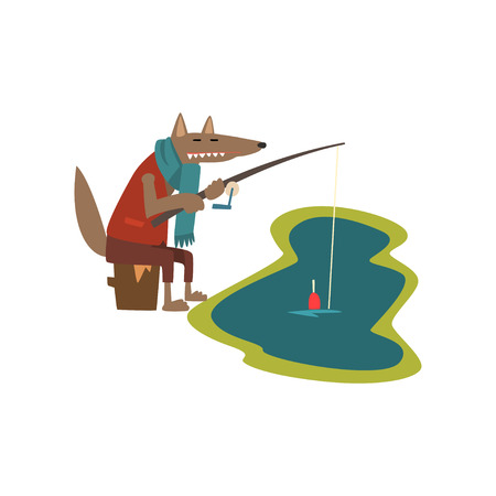 Toothy wolf with fishing rod catching fish, cute cartoon animal having hiking adventure travel or camping trip vector Illustration isolated on a white background. Illustration
