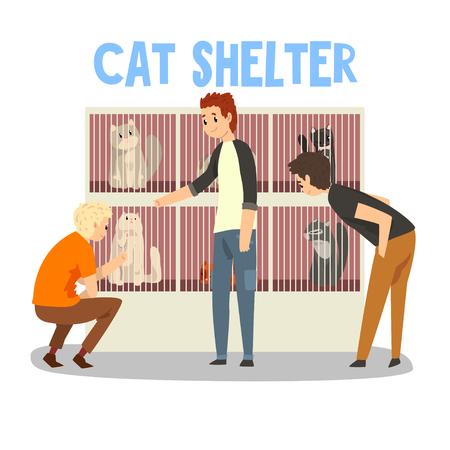 Rifugio per gatti, persone che adottano l'animale domestico del gatto dal rifugio per animali vettoriale illustrazione isolato su sfondo bianco.
