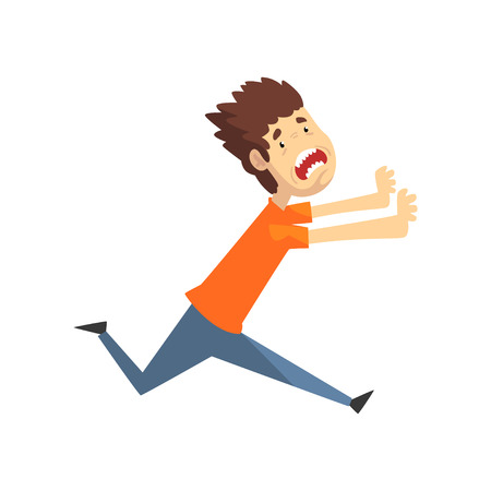 Scared and panicked young man running and shouting, emotional guy afraid of something vector Illustration isolated on a white background.