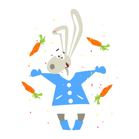 Christmas Rabbit and Falling Carrots. Flat Vector Illustration