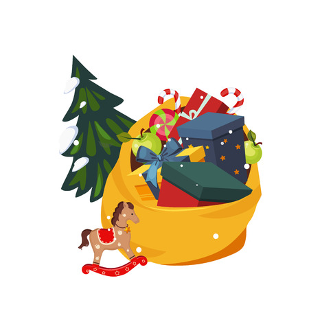 Toy Bag Full of Gifts and Christmas Tree. Holiday Vector Illustration